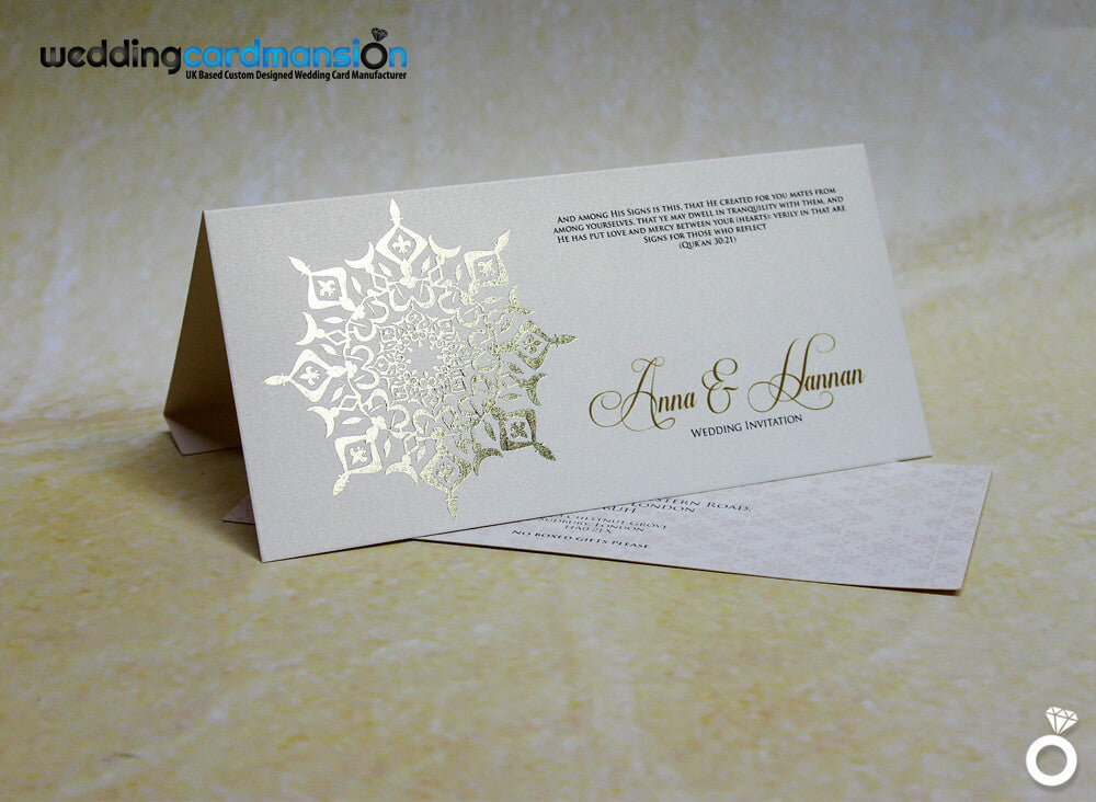 Ivory pearlescent folded wedding invitation. WC272 - Wedding Card Mansion