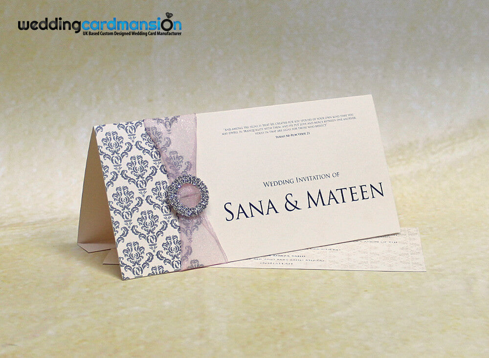 Ivory folded wedding invitation with ribbon and diamanté slider. WC273 - Wedding Card Mansion