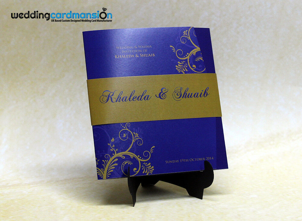 Blue and gold floral square folded wedding invitation. WC277 - Wedding Card Mansion