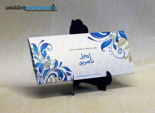 Blue & white floral pattern folded wedding invitation with belly wrap and foil. WC278 - Wedding Card Mansion