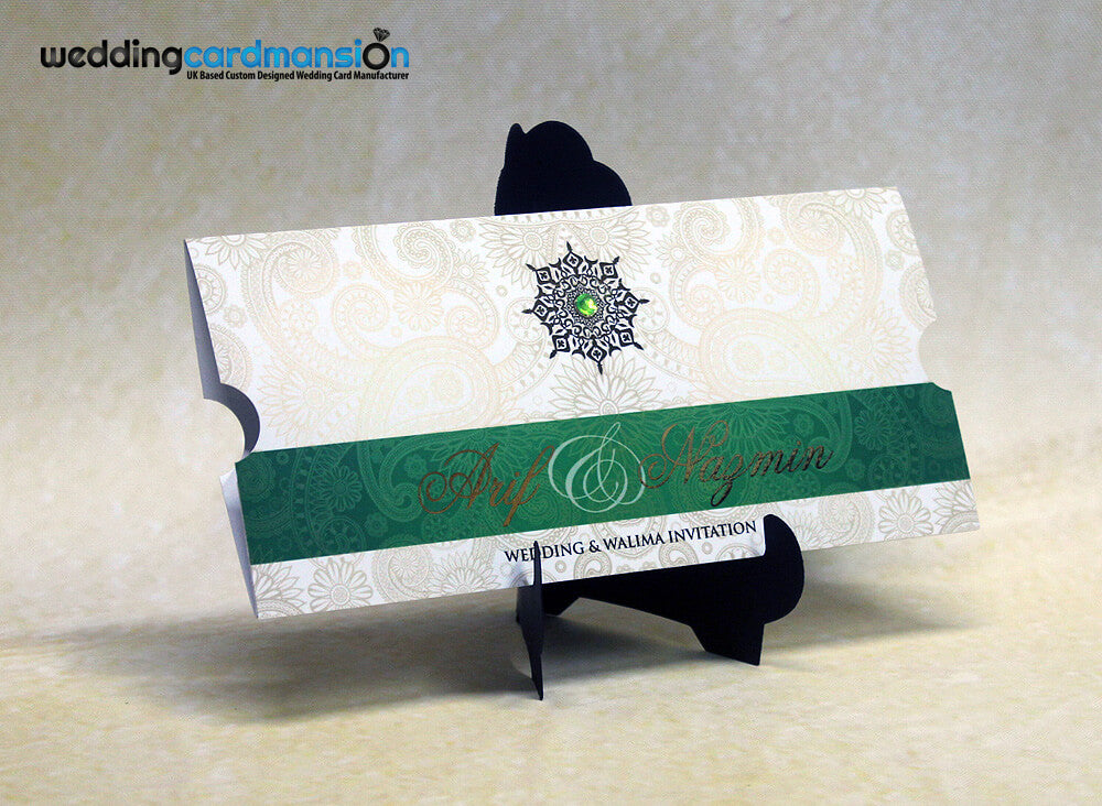 Green & white custom foiled wallet invitation with insert. WC281 - Wedding Card Mansion