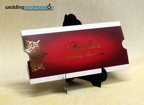 Red & white custom foiled wallet invitation with insert. WC282