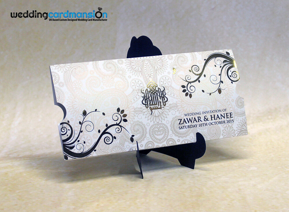 White floral custom foiled wallet invitation with insert. WC283
