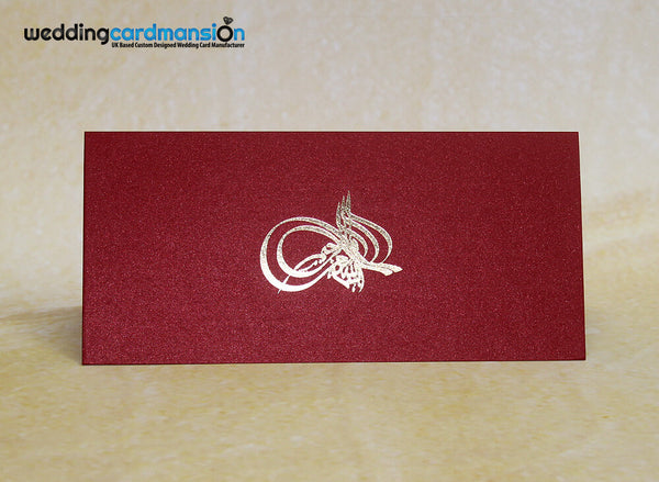 Red pearlescent folded Bismillah wedding invitation. WC293