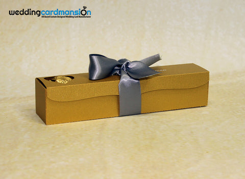 Gold scroll box wedding invitation with foiling & ribbon. WC295 - Wedding Card Mansion