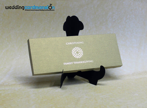 Gold laser cut box style wedding invitation with foiling and rhinestone. WC296 - Wedding Card Mansion
