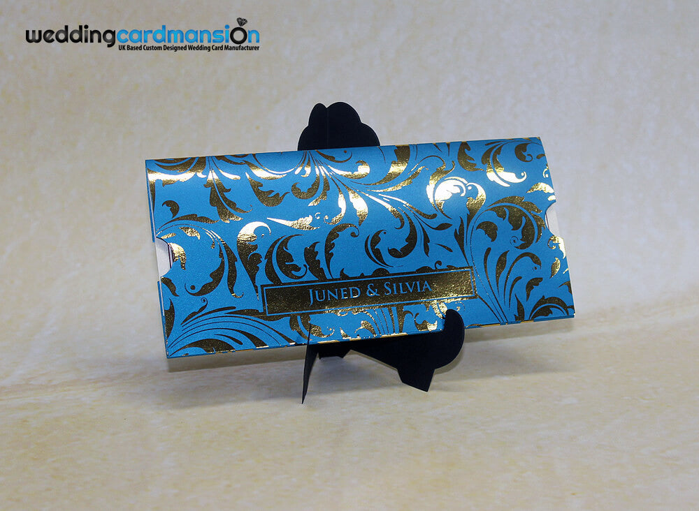 Blue custom floral foiled wallet invitation with insert. WC299 - Wedding Card Mansion