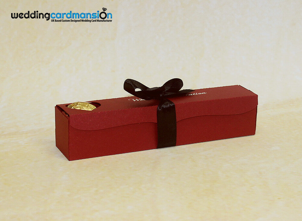 Red scroll box wedding invitation with foiling & ribbon. WC300