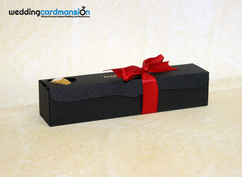 Black scroll box wedding invitation with foiling & ribbon. WC301 - Wedding Card Mansion