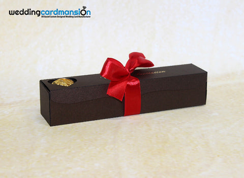 Brown scroll box wedding invitation with foiling & ribbon. WC302 - Wedding Card Mansion