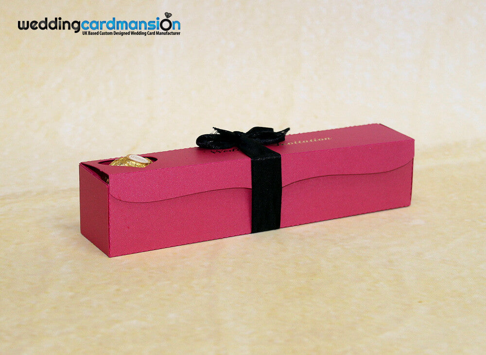 Pink scroll box wedding invitation with foiling & ribbon. WC303 - Wedding Card Mansion