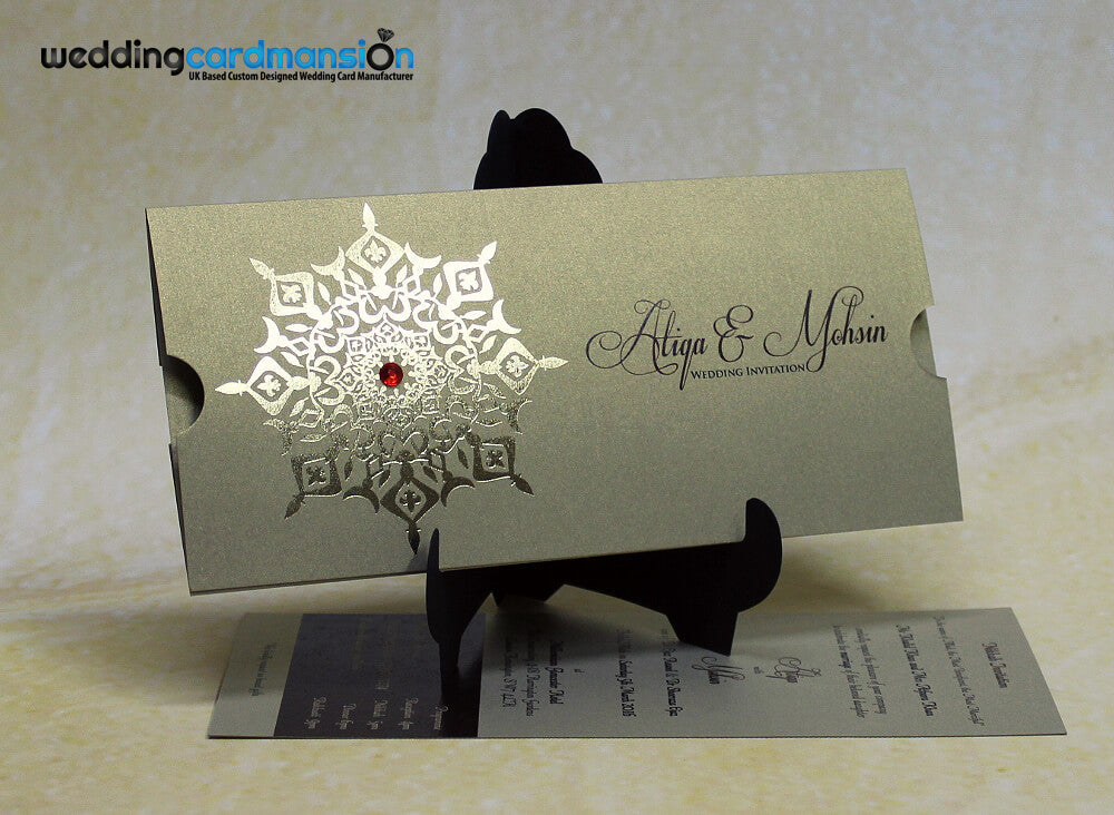 Gold foiled wallet invitation with insert. WC308 - Wedding Card Mansion