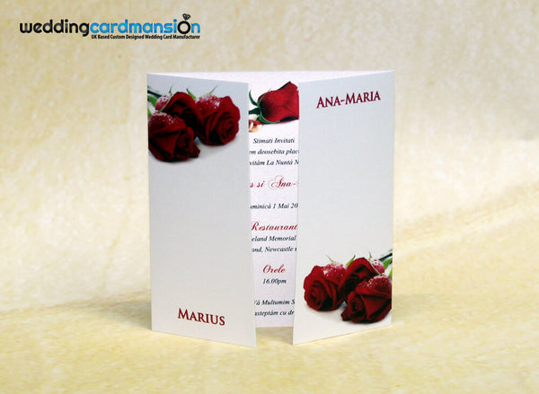 White & red rose design square gate fold wedding invitation. WC314