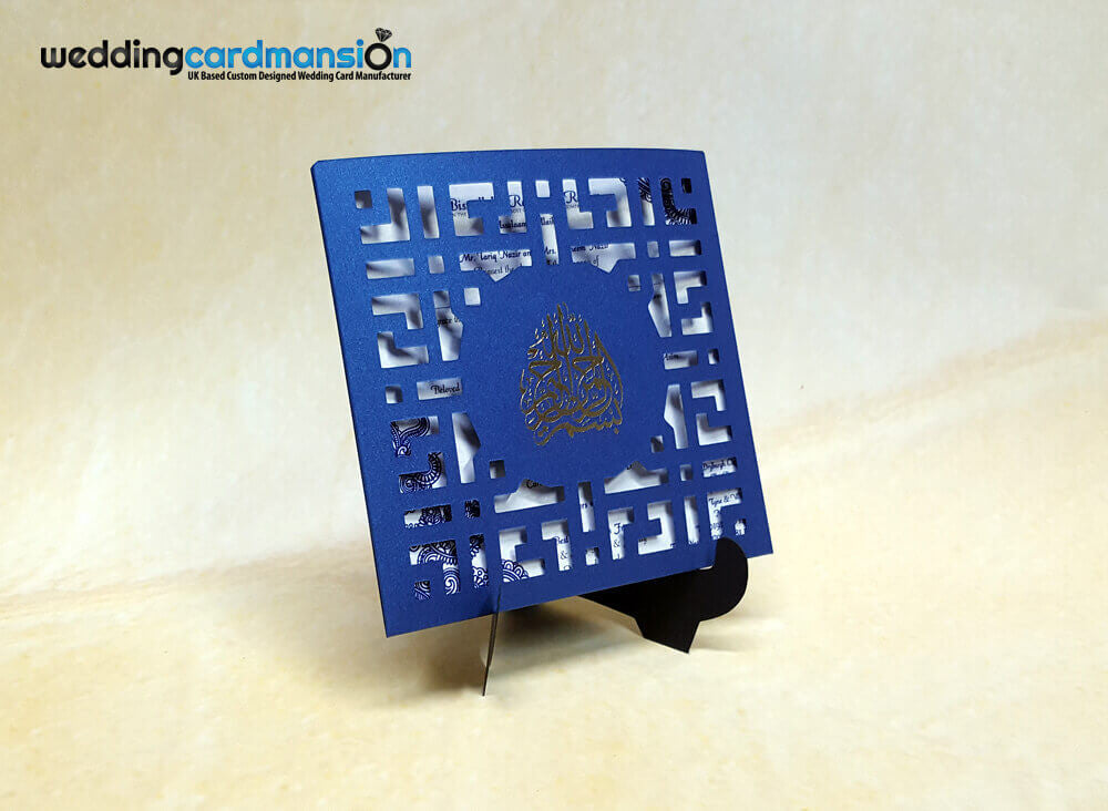 Blue square laser cut pocket wedding invitation. WC316