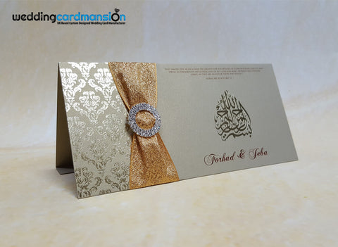 Damask foiled folded invitation with ribbon and diamanté slider. WC317