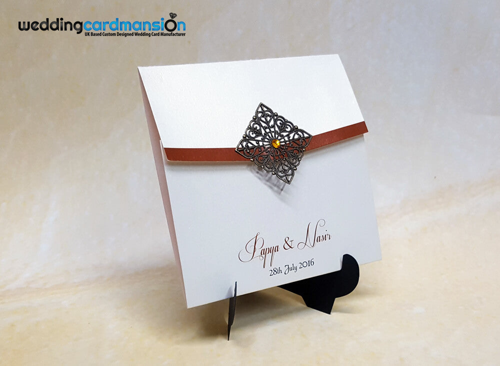 Ivory Square Wallet With Metal Embellishment Invitation