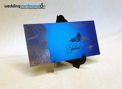 Blue floral design custom foil wedding invitation. WC321