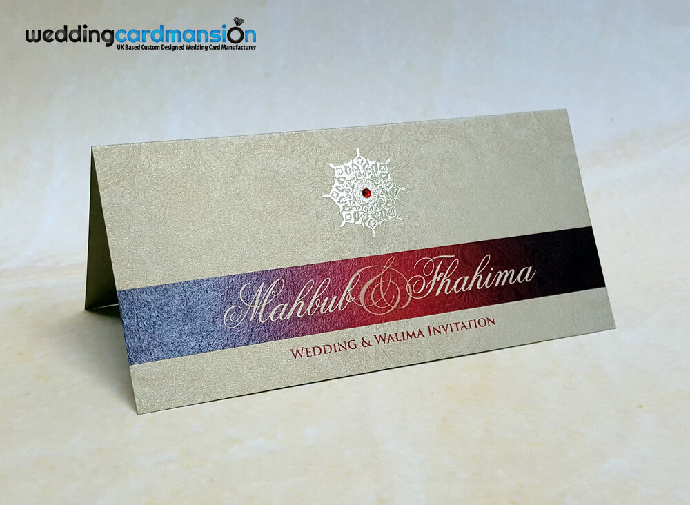 Gold & red pearlescent folded wedding invitation. WC328