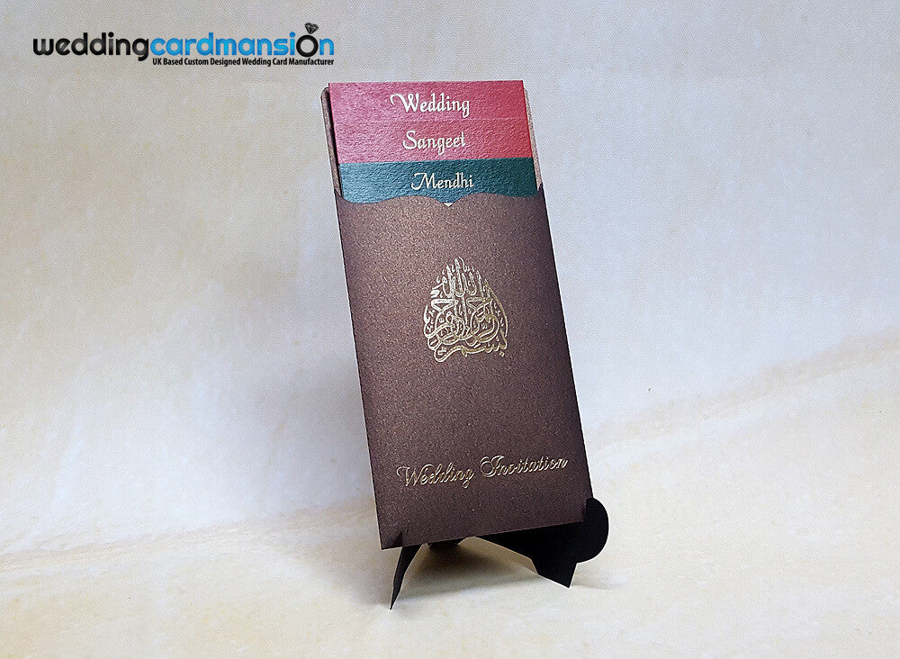 Brown pearlescent laser cut wallet wedding invitation with Bismillah foiling