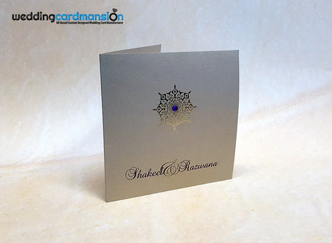 Square folded wedding invitation WC336