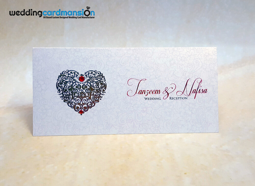 Heart foiled wedding invitation. WC348