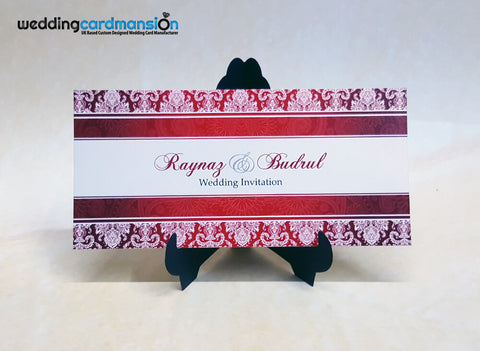 Red damask wedding invitation. WC352