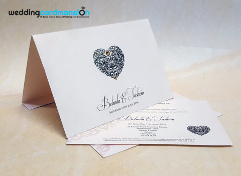 A5 heart foiled wedding invitation. WC357
