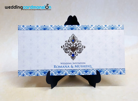 Blue damask wedding invitation. WC358