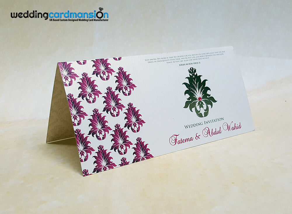 Purple damask foiled wedding invitation. WC373