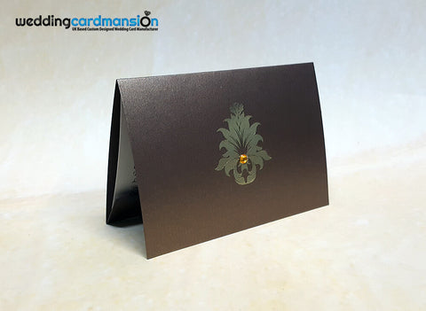 A6 folded brown pearlescent wedding invitation