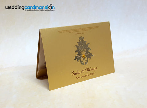 A6 folded gold pearlescent wedding invitation