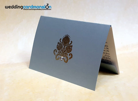 A6 folded silver pearlescent wedding invitation