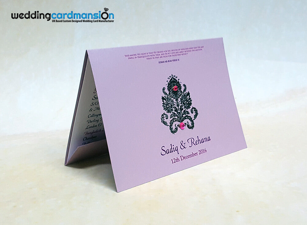 A6 folded pink pearlescent wedding invitation