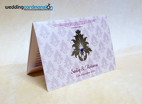 A6 folded pearlescent wedding invitation