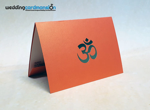 A6 folded orange pearlescent wedding invitation