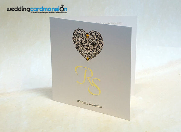 Heart square folded wedding invitation WC388