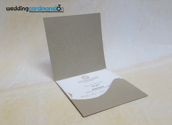 "Wallet fold wedding invitation. This card comes complete with 1 insert. ""& we created you in pairs, Surah An-Naba Verse 8"" embossed in foil."