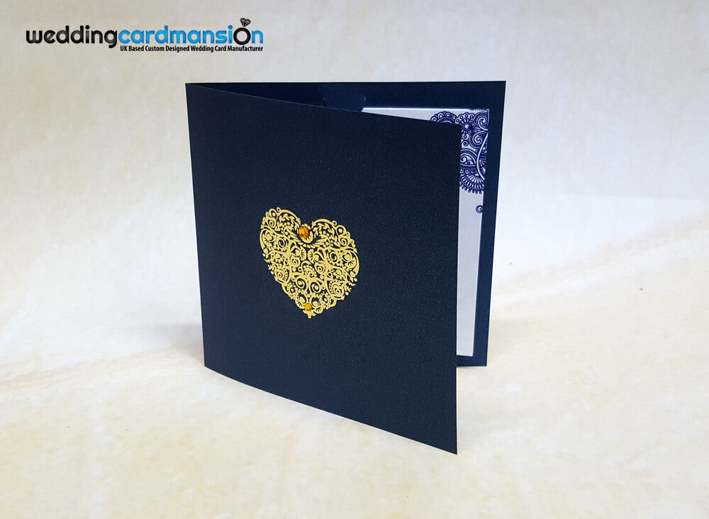 Heart square folded wedding invitation with 1 insert.