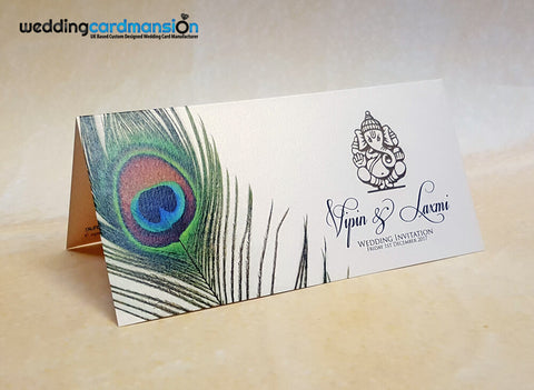 Peacock design Ganesh foiled wedding invitation. WC391