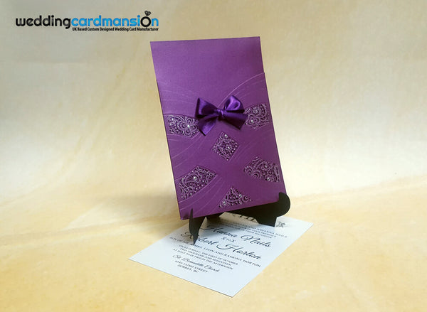 Laser Cut Pearl Pattern Wedding Invitation. This card comes complete with 1 insert.