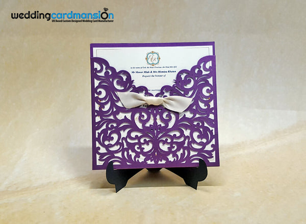 Purple Laser Cut Wedding Invitation. WC395