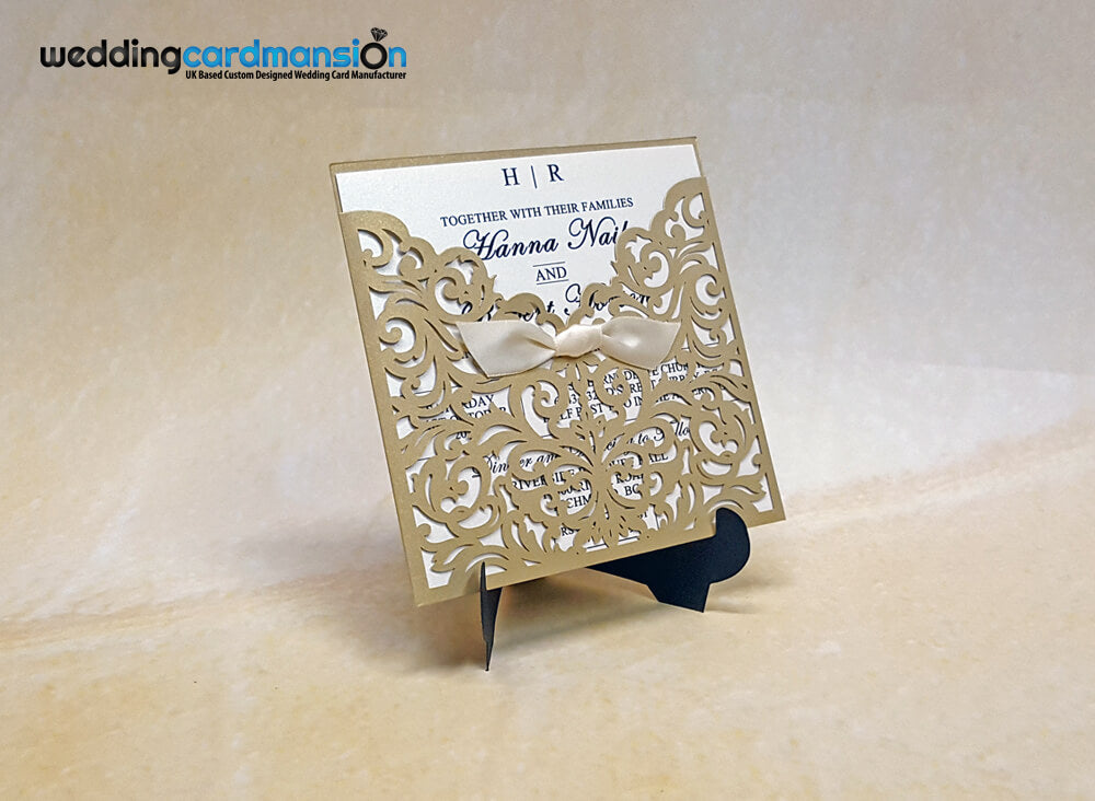 Metallic Gold Laser Cut Wedding Invitation. WC396