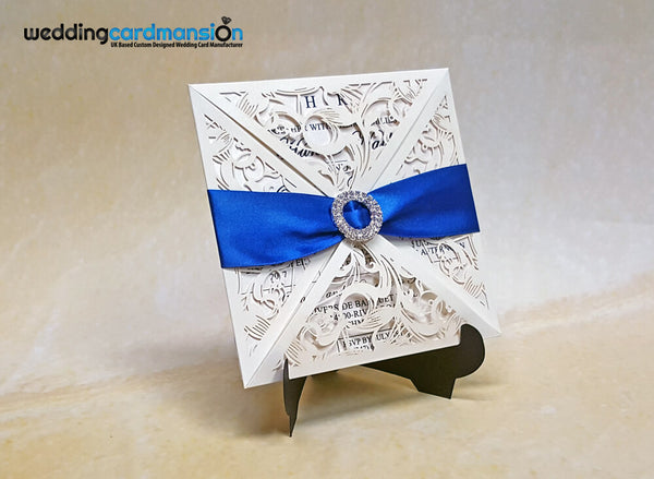 Luxury Ivory Laser Cut Wedding Invitation. This card comes complete with 1 insert and envelope.