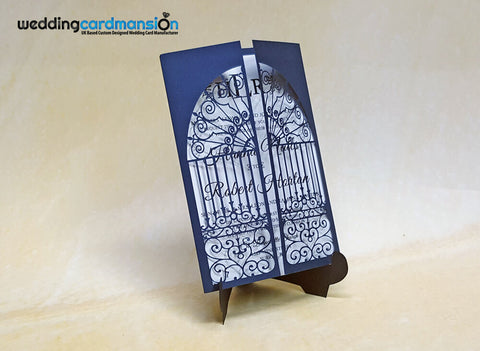 Navy Shimmer Gate Laser Cut Wedding Invitation. This card comes complete with 1 insert and envelope.