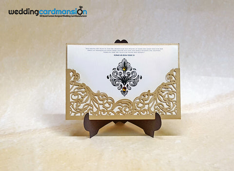 Elegant Metallic Laser Cut Wedding Invitation with gold foiling. This card comes complete with 1 metallic shimmer insert and envelope.