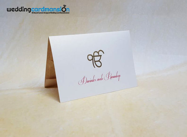 A5 folded wedding invitation. Ek Onkar logo foil stamped in gold on front cover. This card comes complete with 1 insert.