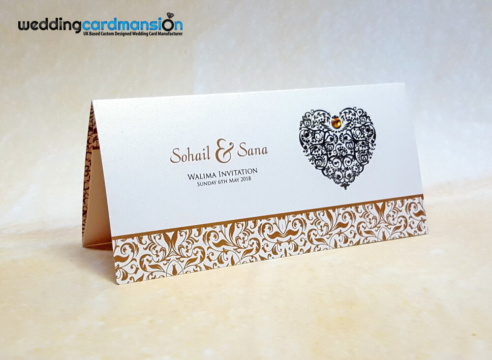 Heart foiled wedding invitation. WC408 – Wedding Card Mansion