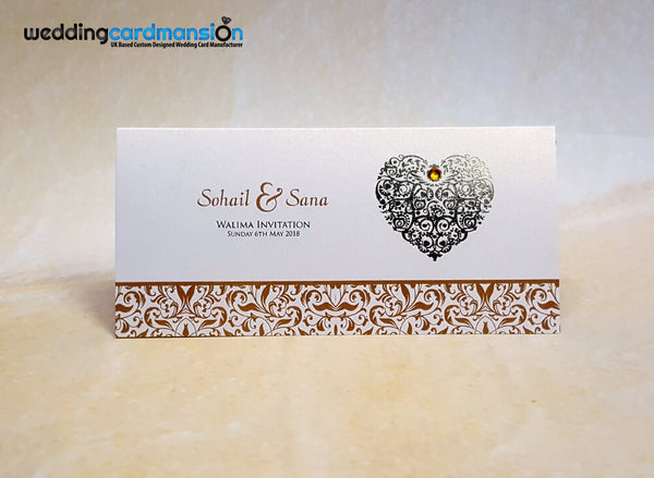 Heart foiled wedding invitation. WC408