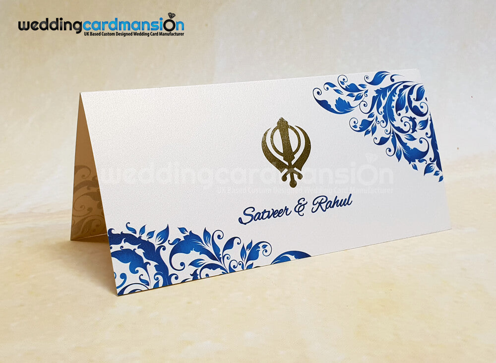 Khanda blue floral design wedding invitation. WC416