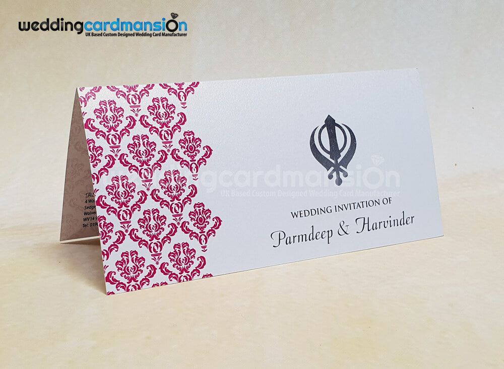 Pink damask Khanda wedding invitation. WC418